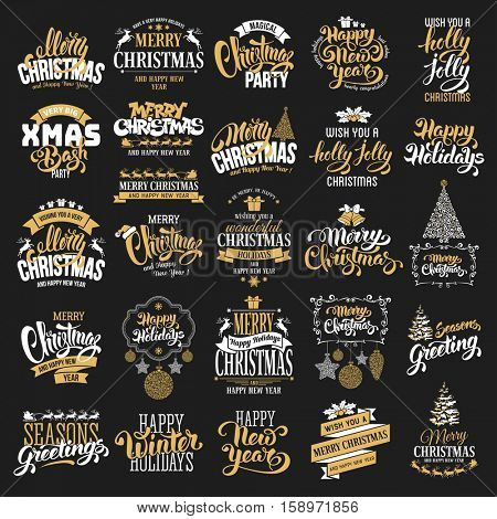 Merry Christmas and Happy New Year typography designs set on black background. Vector illustration.