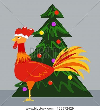 New Year's symbol - a rooster and Christmas tree. Vector illustration