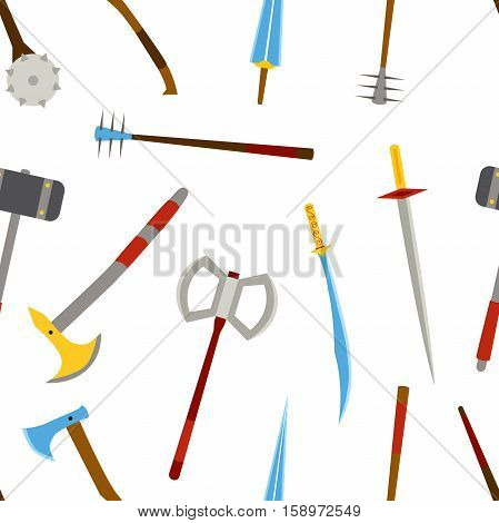 Ancient weapon tool equipment pattern. Melee weapon. Cold weapon. Flat style.