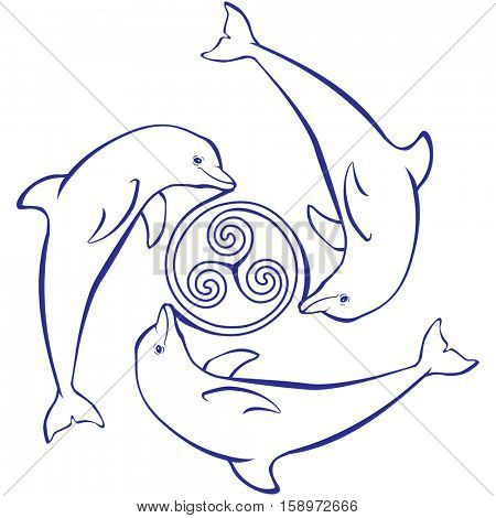 Pattern with dolphin and triple spiral