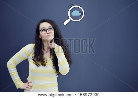 Thinking woman with idea in bubble above looking up isolated on white background.