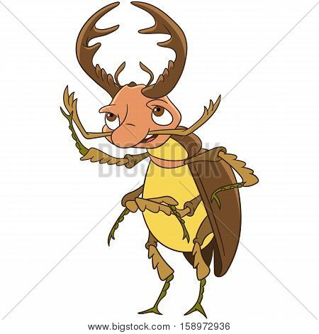 Cute and happy cartoon stag beetle isolated on white background. Childish vector illustration and colorful book page for kids.