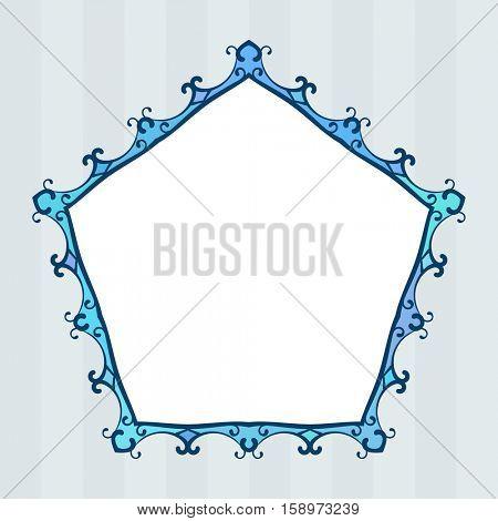 Pentagonal blue frame on striped background Isolated design element
