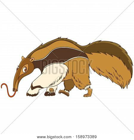 Cute and funny cartoon anteater animal isolated on white background. Childish vector illustration and colorful book page for kids.