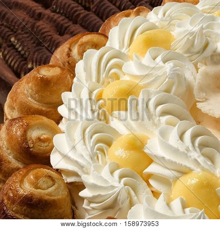 macro detail of a chantilly cream cake