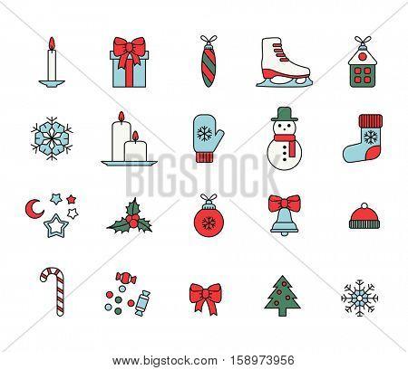 set of colorful christmas icons