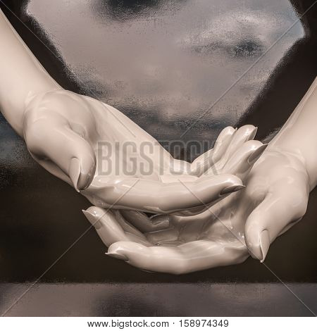 3d render:Hand Holding an Object, Space to Insert Object, Abstract Hands Holding Something, Open Space Between Them