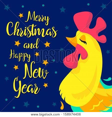 Merry Christmas and happy New Year memory card. Vector New Year congratulation design. Rooster, cock portrait cartoon illustration. Chinese year symbol 2017. Eps 10