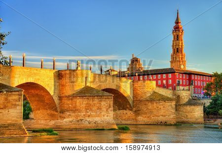 Puente de Piedra in Zaragoza - Aragon, Spain