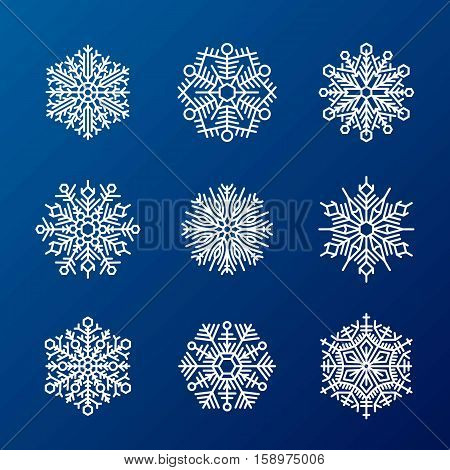 Snowflake vector illustration and season nature winter sign symbol. Frozen ice xmas element and frost silhouette. Winter snow traditional beautiful star ornament.