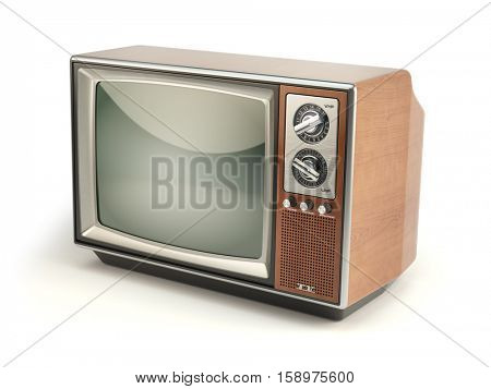 Vintage TV set isolated on white background. Communication, media and television concept. 3d illustration