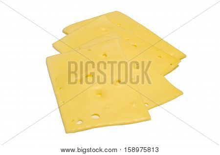 Four slices of Swiss-style Maasdam cheese (with holes), isolated on a white background