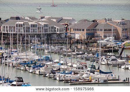 Recreational sailboats at the San Francisco Yacht Harbor