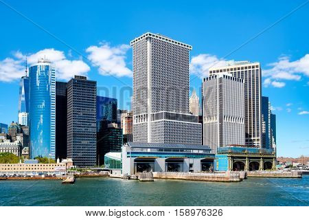 NEW YORK,USA - AUGUST 22,2016 : The South Ferry Terminal of the Staten Island Ferry seen from the New York Harbor
