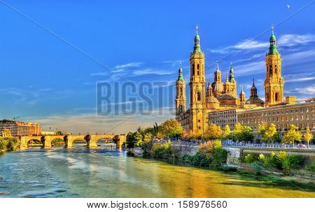 Basilica of Our Lady of the Pillar in Zaragoza, Spain poster