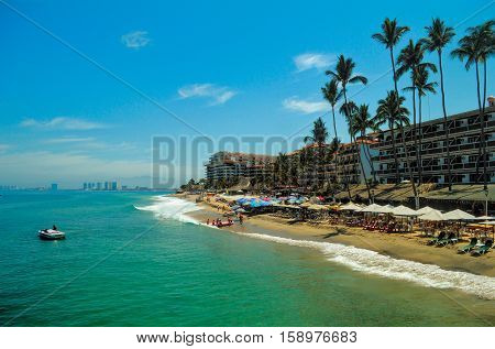 Banderas Bay and hotels in downtown Puerto Vallarta, Mexico.