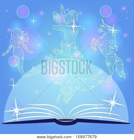 bokeh blue background with fairy tale book