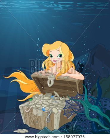 Cute Mermaid over a treasure chest under the sea