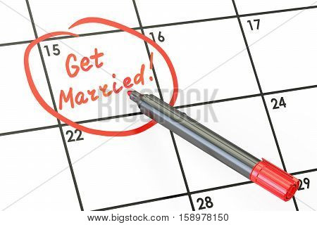 Get Married date on calendar concept 3D rendering