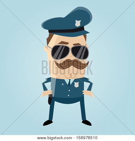 funny cop with sunglasses and mustache