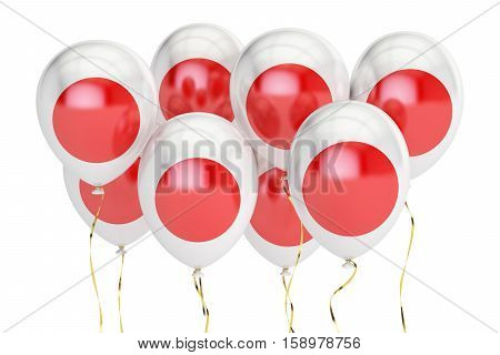 Balloons with flag of Japan holyday concept. 3D rendering isolated on white background