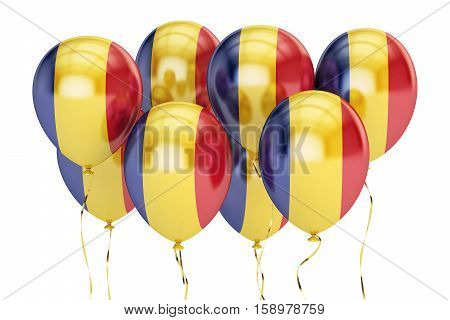 Balloons with flag of Romania holyday concept. 3D rendering isolated on white background