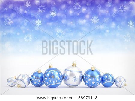 blue christmas balls on blue bokeh background with snowflakes - 3D illustration