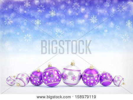 purple christmas balls on blue bokeh background with snowflakes - 3D illustration