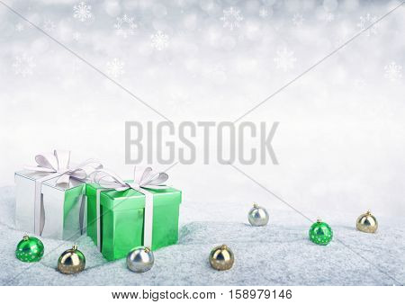 Christmas gift boxes and balls on snow - 3D render