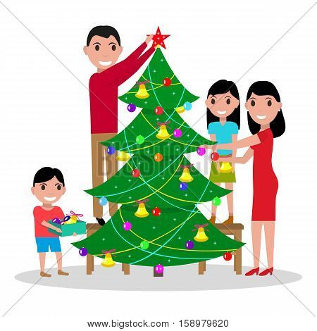Vector illustration of a cartoon happy family decorates the Christmas tree. Parents and children decorate fir Christmas. Isolated white background. Flat style. People are preparing for the new year.