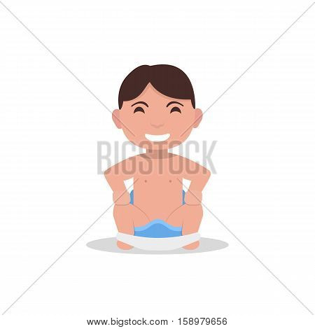 Vector illustration cartoon little boy sits on a children pot. Child toddler is sitting on a blue potty. Isolated white background. Flat style. Baby goes to the toilet. Infant used a chamber pot.