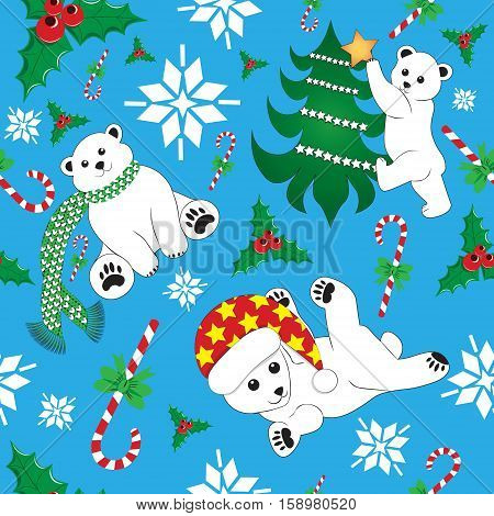 Xmas christmass new year seamless pattern vector with polar bear, christmas tree, candycane, holly and snow