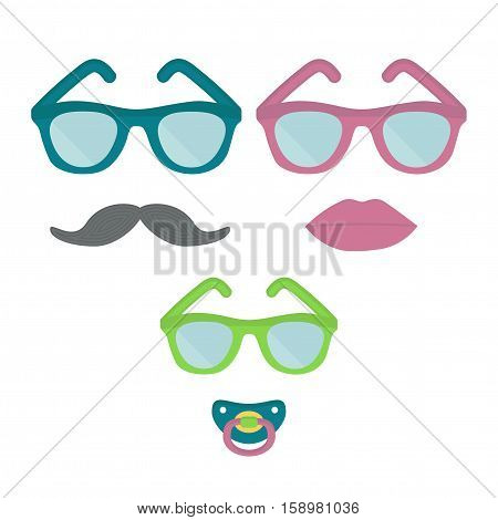 Man, woman, and child in glasses. Moustache, lip, nipple. Vector illustration.
