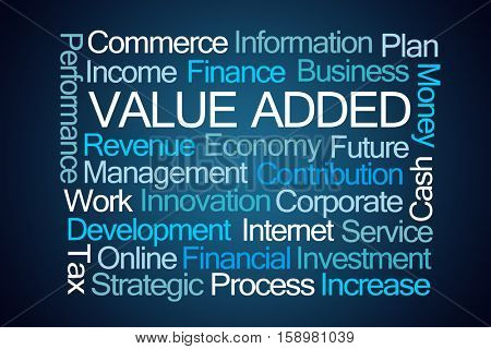 Value Added Word Cloud on Blue Background