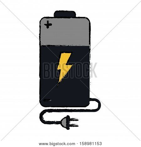 drawing battery charge alkaline lighting cable plug vector illustration eps 10
