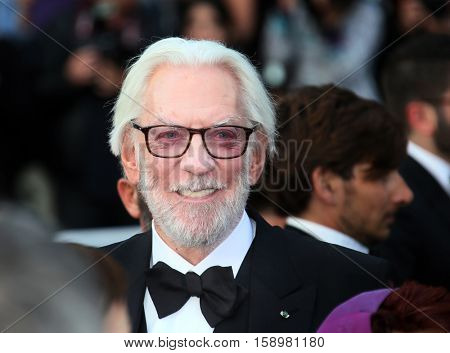 Donald Sutherland attends the 'Cafe Society' premiere and the Opening Night Gala during the 69th Cannes Film Festival at the Palais des Festivals on May 11, 2016 in Cannes, France.