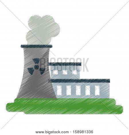 nuclear power station energy pollution ed vector illustration eps 10