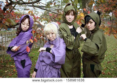 Marugame, Kagawa, Japan -  November 20, 2016: Cosplayers outside the Mamugame-Jou Park Cosplay Convention