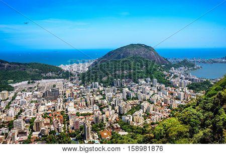 View on Rodrigo de Freitas Lagoon and Zona Sul from Mirante Dona Marta at the National Park of Tijuca, Rio de Janeiro, Brazil