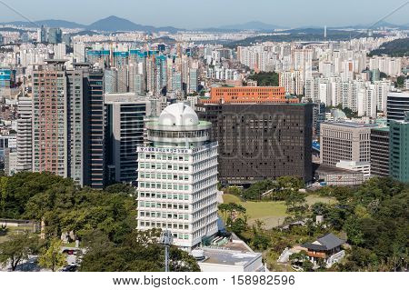 Seoul, South Korea - August 29, 2016: view of skyscrapers in Seoul downtown from Mount Namsan, South Korea