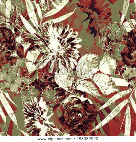 art vintage monochrome brown and red blurred watercolor and graphic floral seamless pattern with roses, peonies, gerbera, asters and dark leaves on dark gold  background. Double Exposure effect