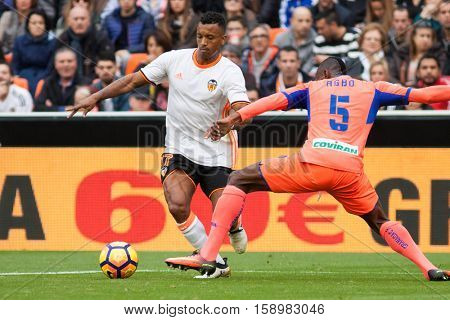 VALENCIA, SPAIN - NOVEMBER 20th: Nani with ball during La Liga soccer match between Valencia CF and Granada CF at Mestalla Stadium on November 20, 2016 in Valencia, Spain