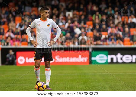 VALENCIA, SPAIN - NOVEMBER 20th: Cancelo during La Liga soccer match between Valencia CF and Granada CF at Mestalla Stadium on November 20, 2016 in Valencia, Spain