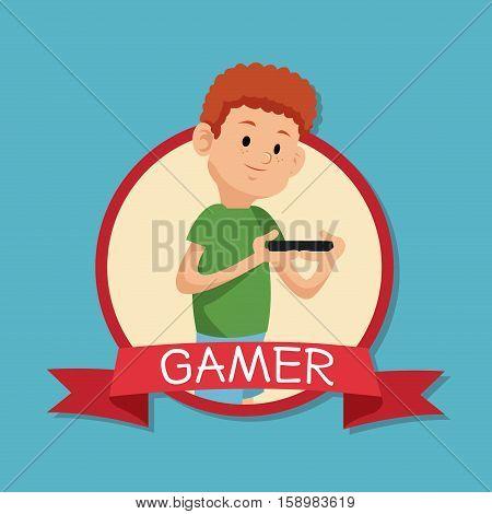 gamer playing mobile devide banner blue backgroung vector illustration eps 10