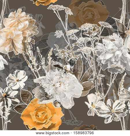 art vintage blurred monochrome orange watercolor and graphic floral seamless pattern with white peonies, roses and leaves on dark grey background. Double Exposure effect