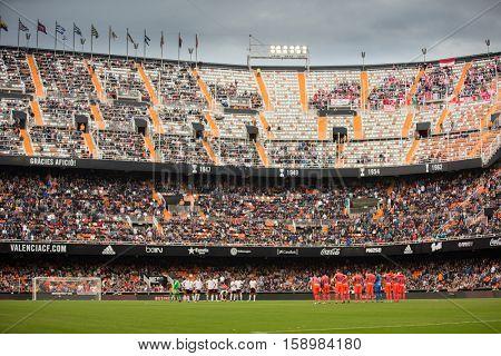 VALENCIA, SPAIN - NOVEMBER 20th: Stadium during La Liga soccer match between Valencia CF and Granada CF at Mestalla Stadium on November 20, 2016 in Valencia, Spain