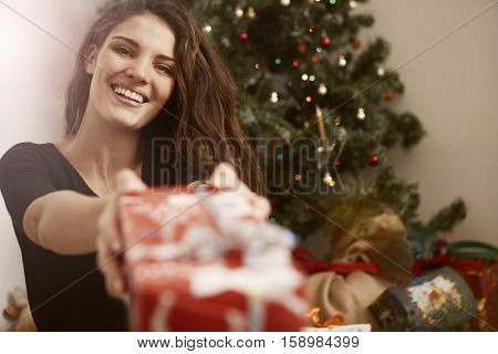 Girl exchanging gifts