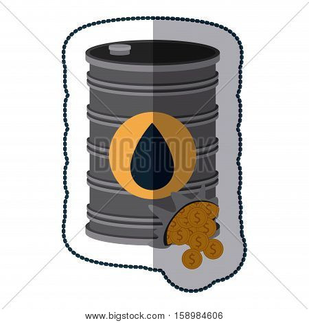 Gasoline pump and coins icon. Oil industry price and commerce theme. Isolated design. Vector illustration