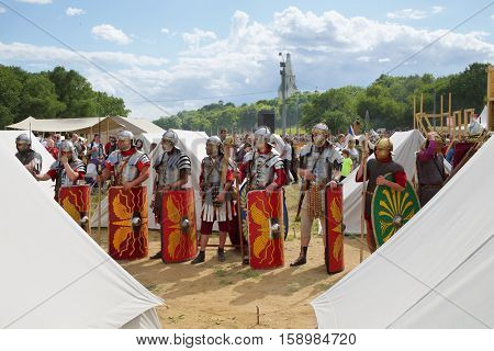 MOSCOW - JUN 06, 2015: The Roman military camp at the festival Times and epoch: Ancient Rome in Kolomenskoye