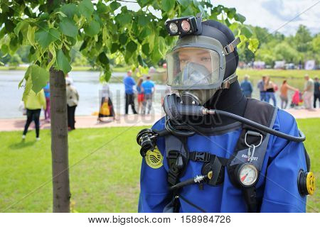 MOSCOW - JUN 06, 2015: Mannequin dressed rescuer on water at the festival of fire and rescue service in the park Tsaritsyno